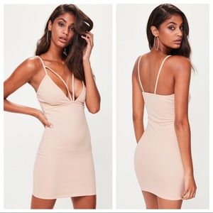 NWT Missguided Nude Strappy Bodycon Dress